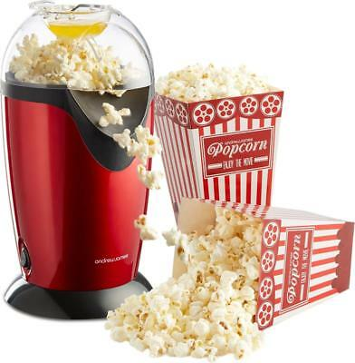 Andrew James Electric Hot Air Healthy Popcorn Popper Maker Machine In Red