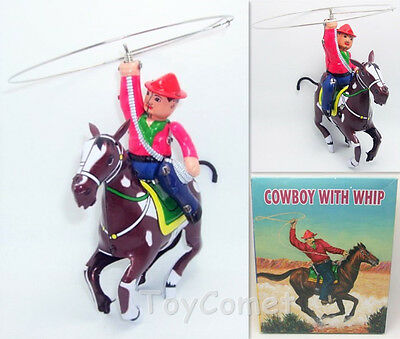 Cowboy with Whip Spinning Lasso MS418 Retro Clockwork Wind Up Tin Toy w/Box