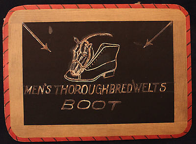 Original Early 1900s Hand Drawn Sign Men's Thoroughbred Welts Boot