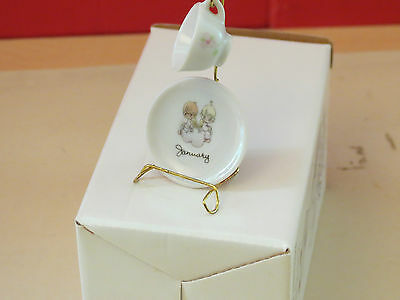 Precious Moments~JANUARY MO.MINIATURE CUP & SAUCER WITH STAND~MADE IN JAPAN ENES
