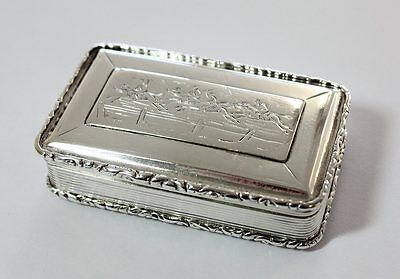 Really Cool William IV Sterling Silver Snuff Box by NATHANIEL MILLS 1831