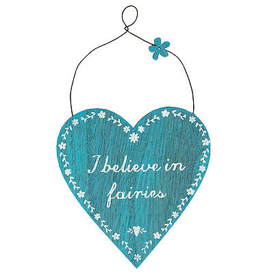 Wooden Heart Hanging Sign-I believe in Fairies Plaque, complete wth hanging wire