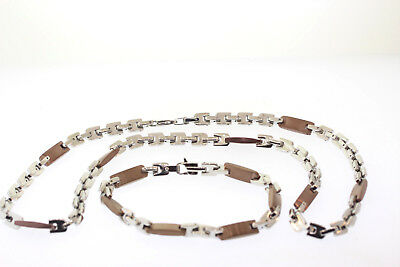 Stainless Steel & Chocolate / Copper-Tone Ion Plated 7mm Necklace & Bracelet Set