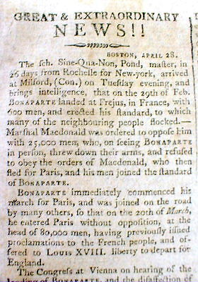 1815 headline newspaper NAPOLEON BONAPARTE returns to FRANCE from EXILE on ELBA