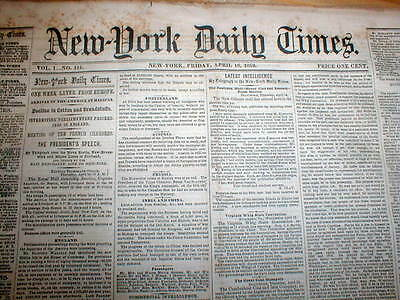 Rare original 1st year Volume I issue of the NEW YORK TIMES newspaper 1851-1852