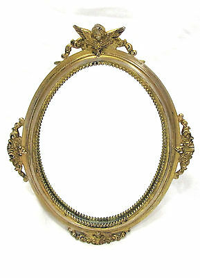 Antique Derby Silver Co 1431 Gold Plated Cherub Angel Oval Vanity Easel Mirror