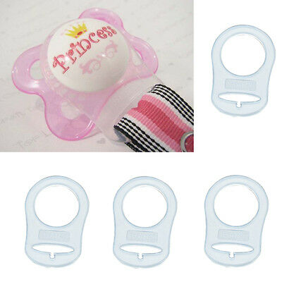 4Pcs Clear Silicone Button MAM Ring Dummy / Pacifier Holder Clip Adapter New