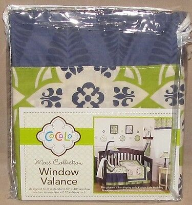 Cocalo Blue Green White Moss Collection Baby Nursery Window Valance Pole Top New