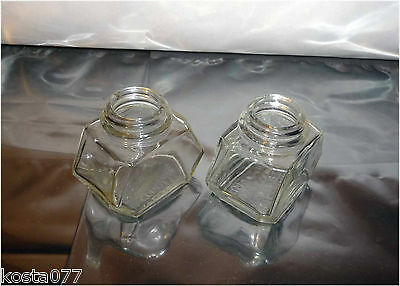 2 x Antique WATERMAN'S Ink Bottles, 2 Oz, Clear Glass Ink Container