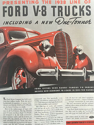 1939 Ford V-8 Truck - Big 11x14 Vintage Advertisement Print Car Ad LG42