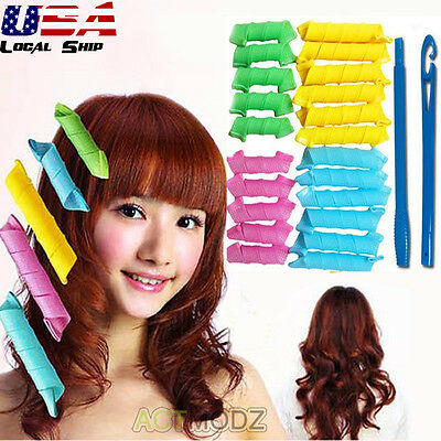 18Pcs Hairdress Magic Hair Curlers Styling Rollers Perfect Hair Curler Roll Wand