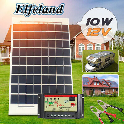 Elfeland 10W 12V Solar Panel Battery Charger + Controller + 4m Cable For RV Boat