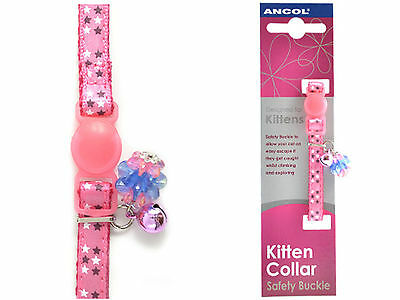 Ancol Jewel Luxury Kitten Collar Pink Safety Release Buckle Bell