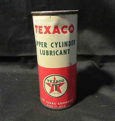 Vintage Texaco Upper Cylinder Lubricant Red/White Tin Can The Texaco Company
