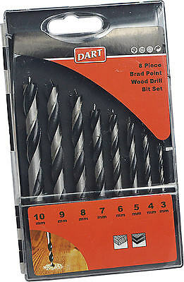 NEW DART 8 Piece Wood Brad Point Dowelling Power Drill Bit Set 3mm-10mm BRDSET08