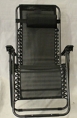 Zero Gravity Black Deluxe Folding Recliner Chair Sun Garden Outdoor Camping