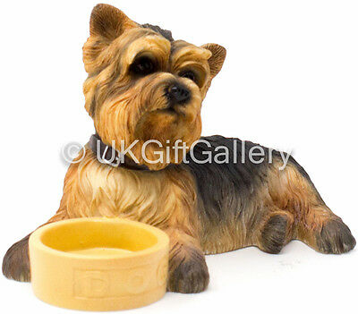 YORKSHIRE TERRIER Dog / Pup With Bowl Dog Ornament Figurine by Leonardo NEW