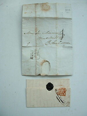 GB 1830s PRE PENNY POST ENTIRE COVERS x 2 / LETTER EDINBURGH & BROMLEY