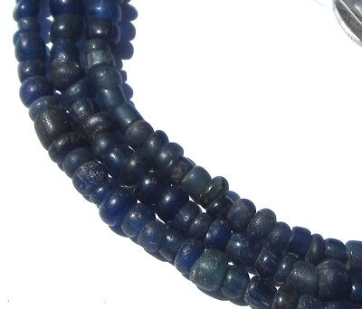 """23"""" Strand Of Rare Tiny/small Ancient Mixed Cobalt D'jenne Mali Glass Beads"""