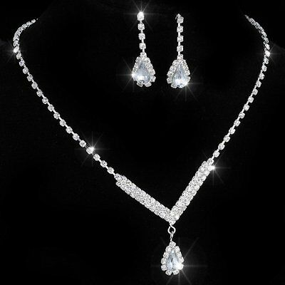 White Sapphire Necklace Earrings Crystal Tennis Silver Wedding Prom Jewelry Set
