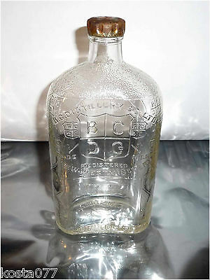 Vintage Embossed Clear Glass Whisky Bottle B.C. Distillery NEW-WESTMINSTER BCDC