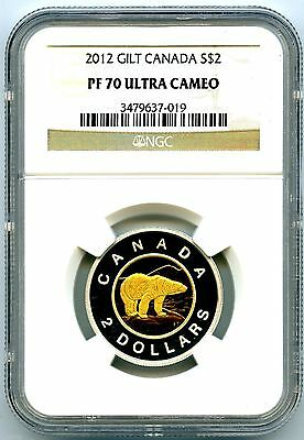 2012 Silver Proof Two Dollar Canada Ngc Pf70 Ucam .999 Fine Gilt Gold Polar Bear