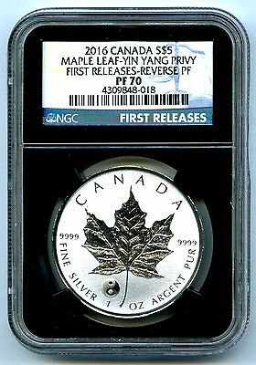 2016 $5 Canada 1Oz Silver Maple Leaf Ngc Pf70 Yin Yang Privy Reverse Proof Pop20