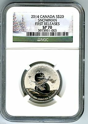 2014 $20 Canada Silver Snowman Ngc Sp70 First Releases Holiday Label 1/4 Ounce