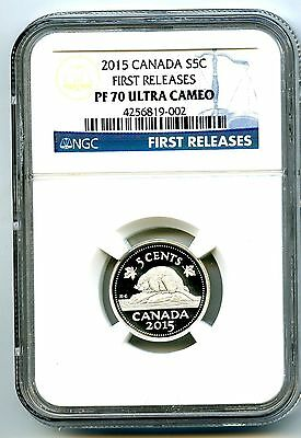 2015 Canada Silver Proof 5 Cent Nickel Ngc Pf70 Ucam .999 First Releases