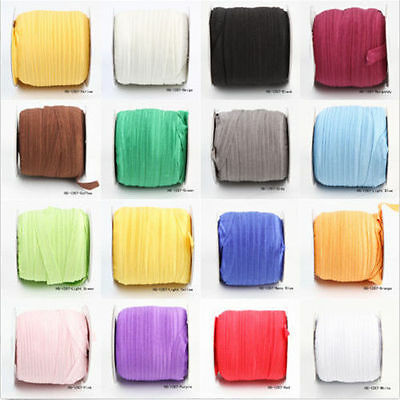 5 Yards Solid Color Fold Over Elastic Spandex Satin Band Lace Sewing 15mm