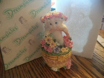 1997 Dreamsicles Flower Basket 10354 Hinged Trinket or Jewelry Box Cherub Angel