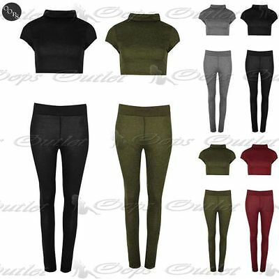 Womens Ladies Loungewear Polo Neck Knitted Cropped Top Pocket Legging Tracksuit