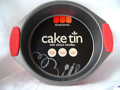 NEW ROUND NON STICK METAL CAKE TIN PAN WITH RED SILICONE HANDLES 20cm UBL KC0291