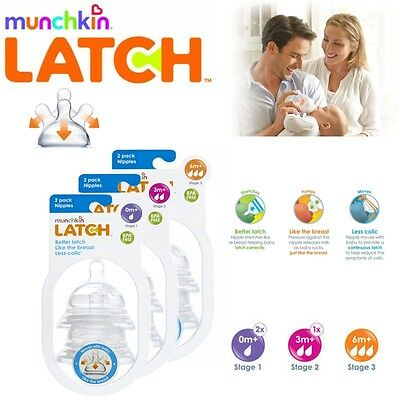Munchkin Latch Baby Silicone Anti-Colic Wide Neck Teats 2 Pack Stages 1, 2 or 3
