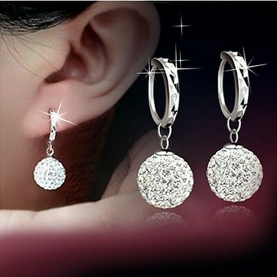 Fashion Women 18k White Gold Plated Crystal Rhinestone Ear stud Hoop Earrings