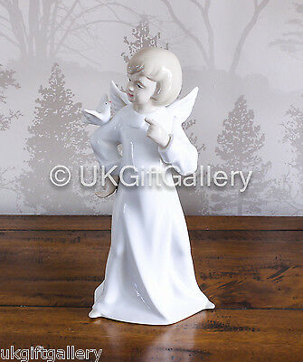 Beautiful Annie Rowe Porcelain Angel in With Dove on Arm Ornament by Leonardo