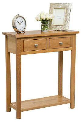 Large Oak Console Table | Solid Wood Hall Side/End/Telephone Table with 2 Drawer