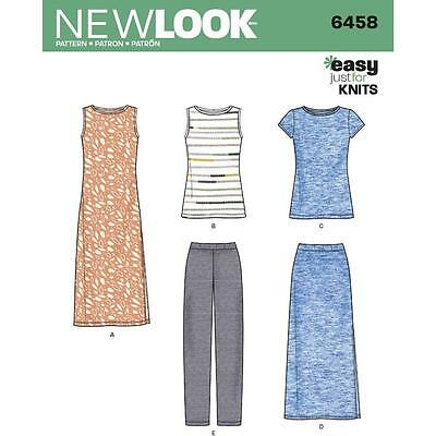 New Look Sewing Pattern Misses' Easy Knit Separates Dress Skirt Pants 10-22 6458