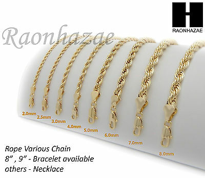 "NEW 14K GOLD PLATED ROPE NECKLACE CHAIN (3-10mm) w/ (8""/9""/18""/20""/24""/30""/36"")"