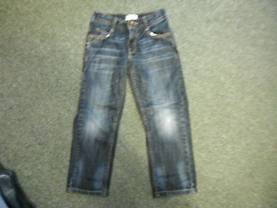 "Marks & Spencer Straight Jeans Waist 23"" Leg 19"" Faded Dark Blue Boys 7Yrs Jeans"