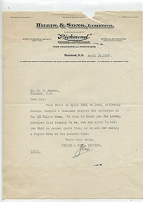 Old 1927 Hillis & Sons Richmond Stoves Halifax NS Letterhead