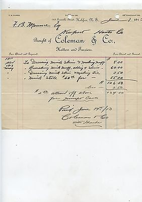 Old 1913 Coleman & Co Hatters Furriers Halifax NS Letterhead