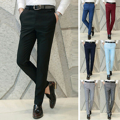 Classic Mens Formal Slim Fit Business Dress Smooth Straight Suits Pants Trousers