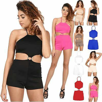 Womens Ladies All In One Ring Buckle Halter Neck Shorts Jumpsuit Romper Playsuit