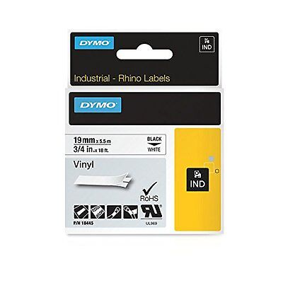 "DYMO 18445 RhinoPro Vinyl Tape 3/4"" Blk/Wht - Authorized Dymo Dealer"