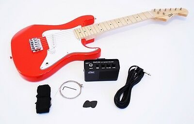 1/2 Children E-guitar Set with reinforcement and accessories, red