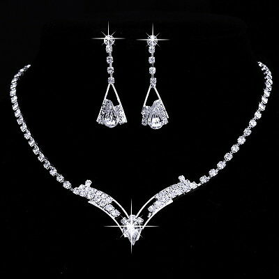 Crystal Women Party Prom Silver Necklace Earrings Wedding Bridal Jewelry Set