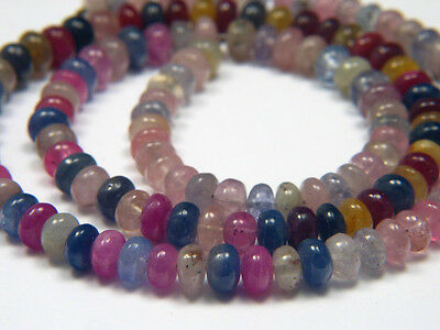 "Genuine Natural Multicolor Umba Sapphire Smooth Rondelle Beads - 9"" Half Strand"