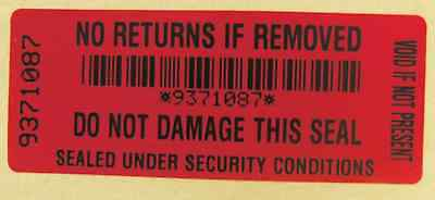 NO RETURNS SECURITY STICKERS T/E VOID red x 100 labels