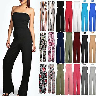 Women Ladies All In One Piece Casual Boobtube Wide Leg Palazzo Playsuit Jumpsuit